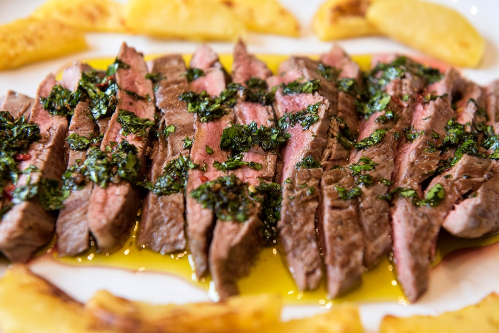 "Pan-seared Flank Steak, with ""kind of"" Chimichurri Sauce ..."